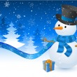 Christmas postcard with snowman — Stock Vector #30799123