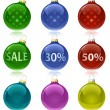 Christmas balls with sale tags — Stock Vector