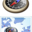 Compass and Map — Imagen vectorial