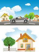 Country House.Automobile speeding on the road — Stock Vector