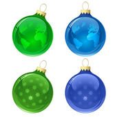 Globe christmas balls — Stock Vector