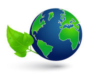 Globe and leaves. Eco Concept. — 图库矢量图片