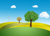 Trees and Wind turbine on a meadow — Stock Vector