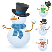 Christmas snowman set — Stock Vector
