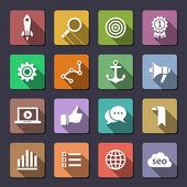 Conjunto de iconos de optimización de motor de búsqueda — Vector de stock