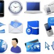 Business website icon set - blue — Stok Vektör #32578381
