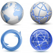 Abstract Globe Icons Set. Vector Illustration — Stok Vektör