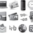 Business website icon set - grey — Vettoriali Stock