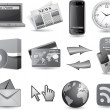 Business website icon set - grey — Imagen vectorial