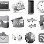 Business hemsida Ikonuppsättning - grå — Stockvektor