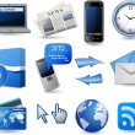 Business hemsida Ikonuppsättning - blå — Stockvektor