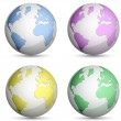Metallic Globe Icons Set — Stok Vektör