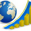 Global finance. Growth Chart with world map on background. — Stockvektor