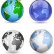 Globe Icon Set. Planet, Earth. Vector illustration — Stock Vector