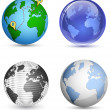 Globe Icon Set. Planet, Earth. Vector illustration — Stock Vector #32578511