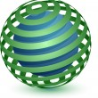 Abstract Globe Icon. Ribbon Around a Sphere. — Imagen vectorial