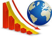 Küresel ekonomik kriz. dünya durgunluk — Stok Vektör