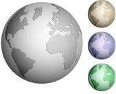 Shiny metallic globe set — Stock Vector