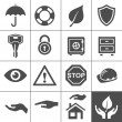 Stock Vector: Protection icons. Simplus series