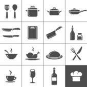 ресторан кухня иконки — Cтоковый вектор