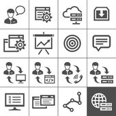 Outsourcing icons set - Simplus series — Stock Vector
