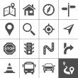 Route planning and transportation icons — Stock Vector