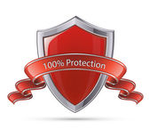 Shield symbol. 100 percent protection — Stock Vector