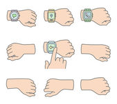 Hands with smartwatch icons — Stock Vector