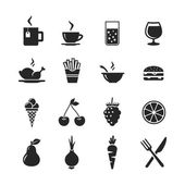 Food and drinks icon set — Stock Photo