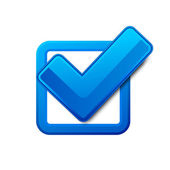 Blue check box — Wektor stockowy