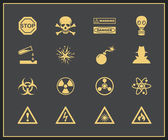Danger and warning icons — Stok Vektör