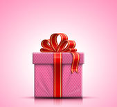Pink gift box with ribbon and bow — Stok Vektör