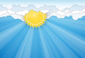 White clouds and Sun over blue sky — Vector de stock