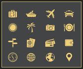 Iconos de viajes y turismo — Vector de stock