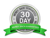 30 day money back guaranteed label — Stock Vector