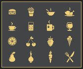 Food and drinks icon set — Stock Vector