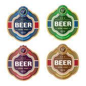 Green beer bottle label template — Stockvector