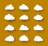 White clouds with long shadow — Vector de stock