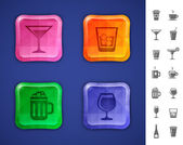 Drinks and beverages icons — Stock Vector