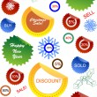 Stock Vector: Christmas sale stickers and tags with discounts and snowflakes