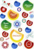 Christmas sale stickers and tags with discounts and snowflakes — Stock Vector