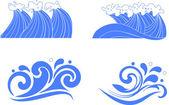 Set of wave symbols for design — Stock Vector