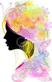 Illustratie van silhouet van meisje met bloemen haar — Stockvector