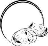 Cadre rond avec branche décorative — Vecteur