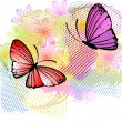 Floral abstract background with butterflies  — Imagen vectorial
