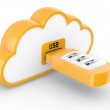 Stock Photo: USB flash drive with combination lock and cloud