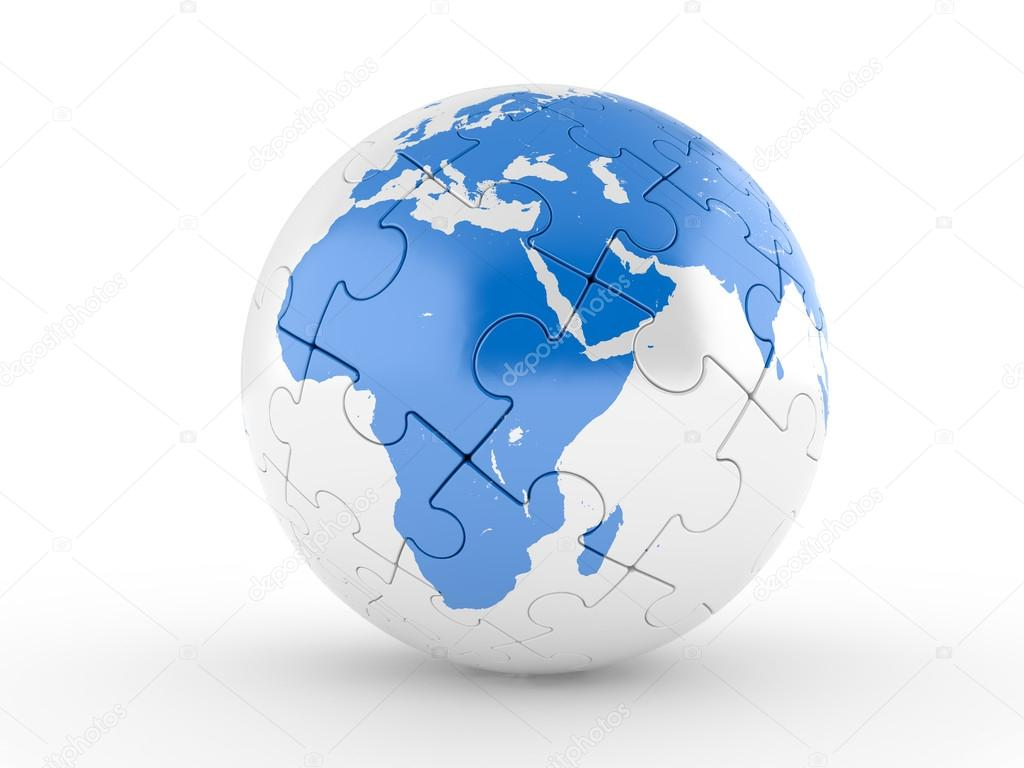 Blue globe puzzle on a white background  Stock Photo #13474432