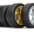 Car alloy wheel gold - ストック写真