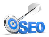 3D word SEO with Target and Dart — Stock Photo