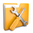Yellow folder with wrench and screwdriver — Stock Photo